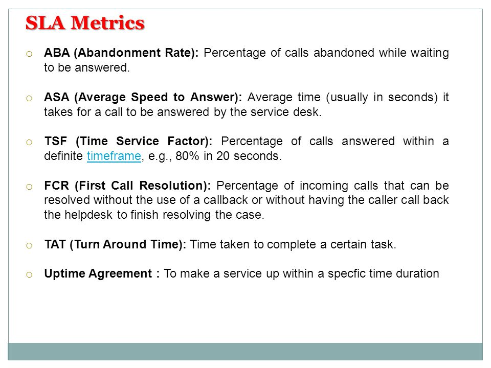 SLA Metrics ABA (Abandonment Rate): Percentage of calls abandoned while waiting to be answered.