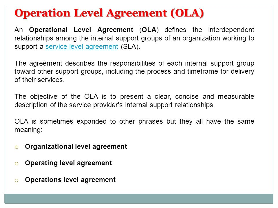 Operation Level Agreement (OLA)