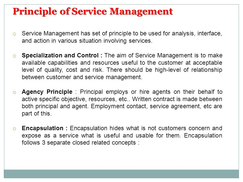 Principle of Service Management