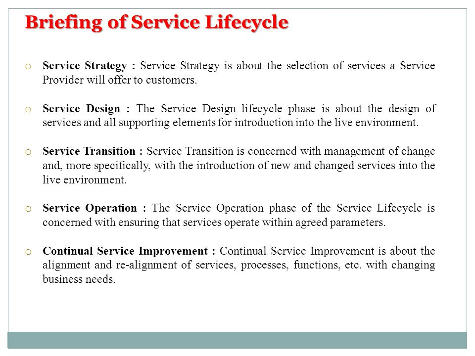 Briefing of Service Lifecycle