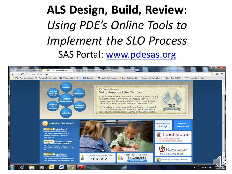 ALS Design, Build, Review: Using PDE's Online Tools to Implement the SLO Process SAS Portal: www.pdesas.org