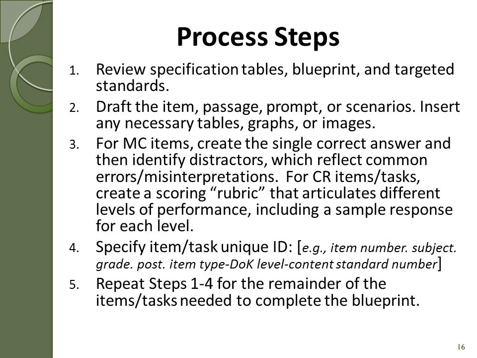 Process Steps Review specification tables, blueprint, and targeted standards.
