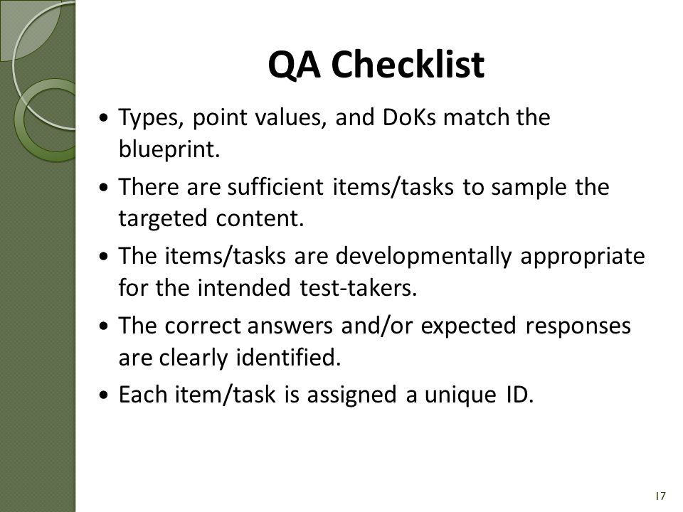 QA Checklist Types, point values, and DoKs match the blueprint.