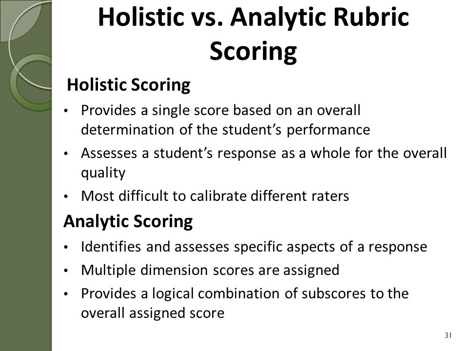 Holistic vs. Analytic Rubric Scoring