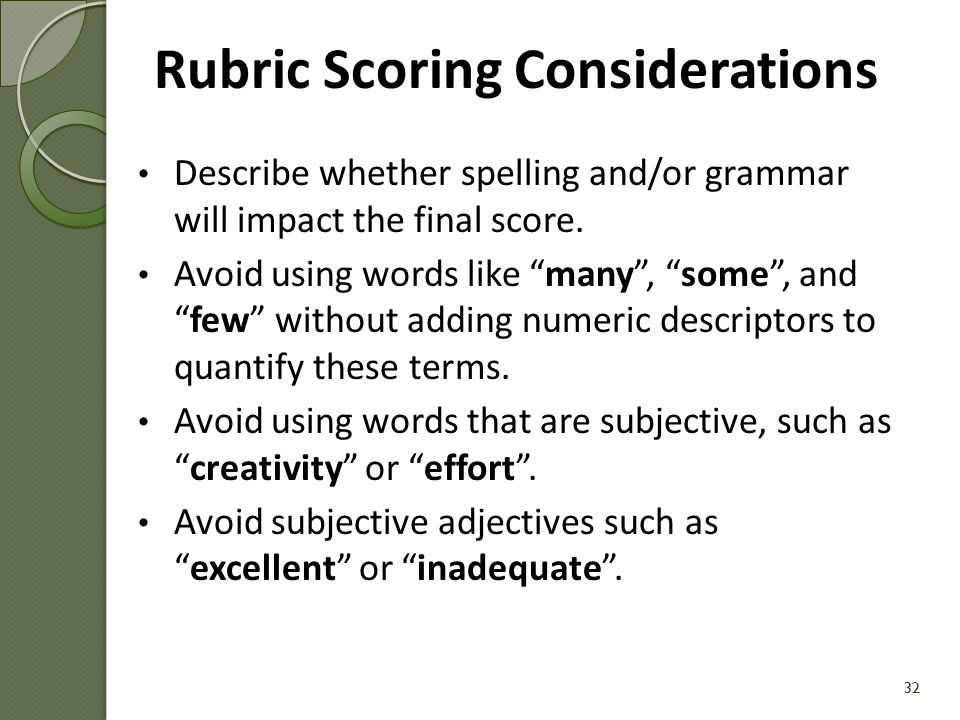 Rubric Scoring Considerations