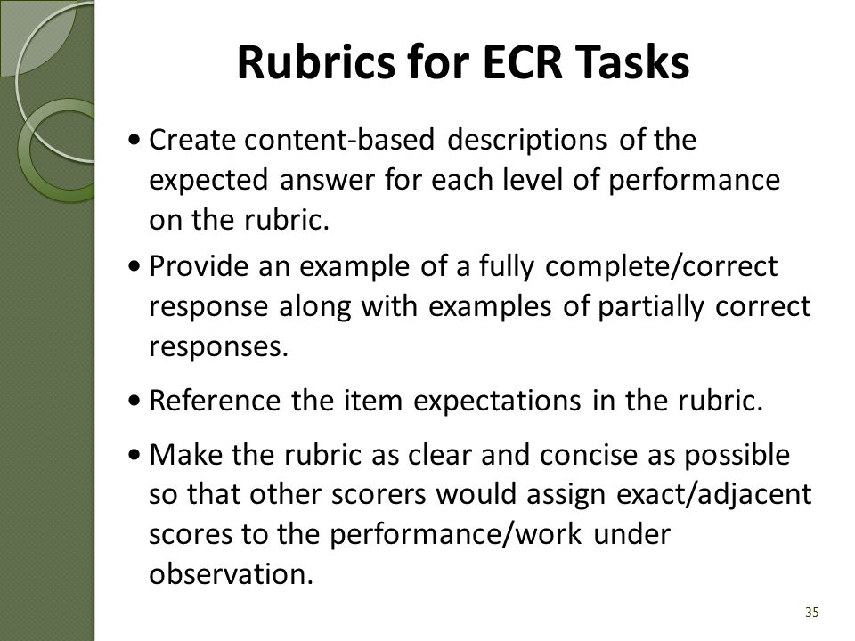 Rubrics for ECR Tasks Create content-based descriptions of the expected answer for each level of performance on the rubric.