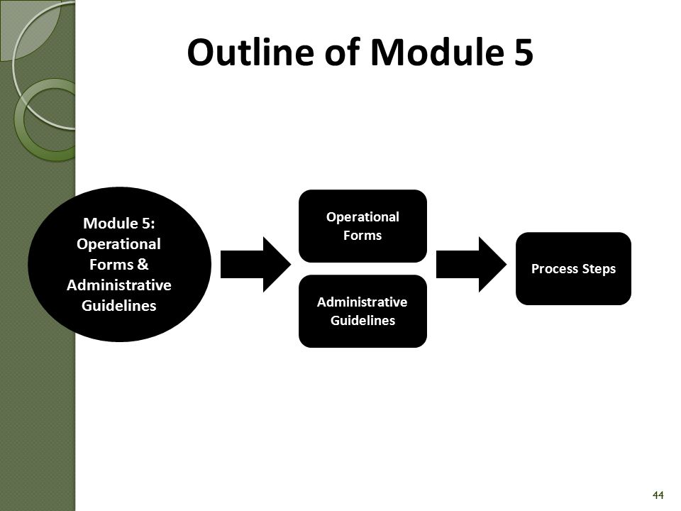 Outline of Module 5 Module 5: Operational Forms & Administrative Guidelines. Operational Forms. Process Steps.
