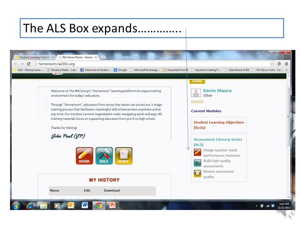 The ALS Box expands…………..