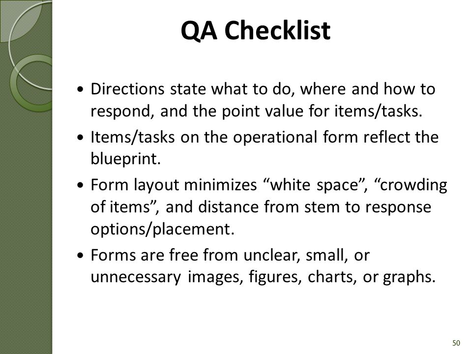 QA Checklist Directions state what to do, where and how to respond, and the point value for items/tasks.