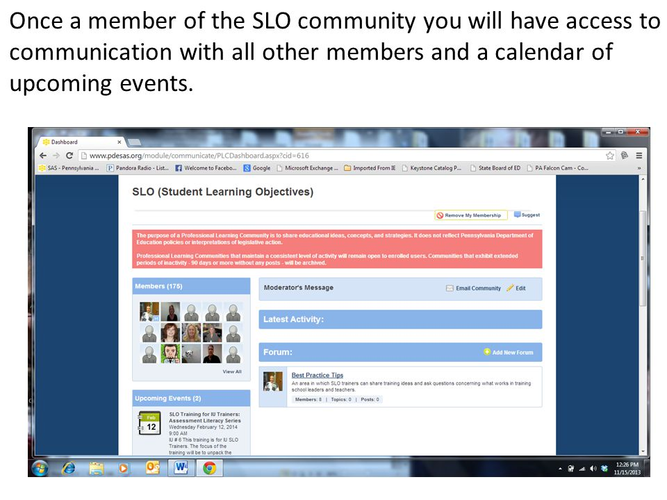 Once a member of the SLO community you will have access to communication with all other members and a calendar of upcoming events.