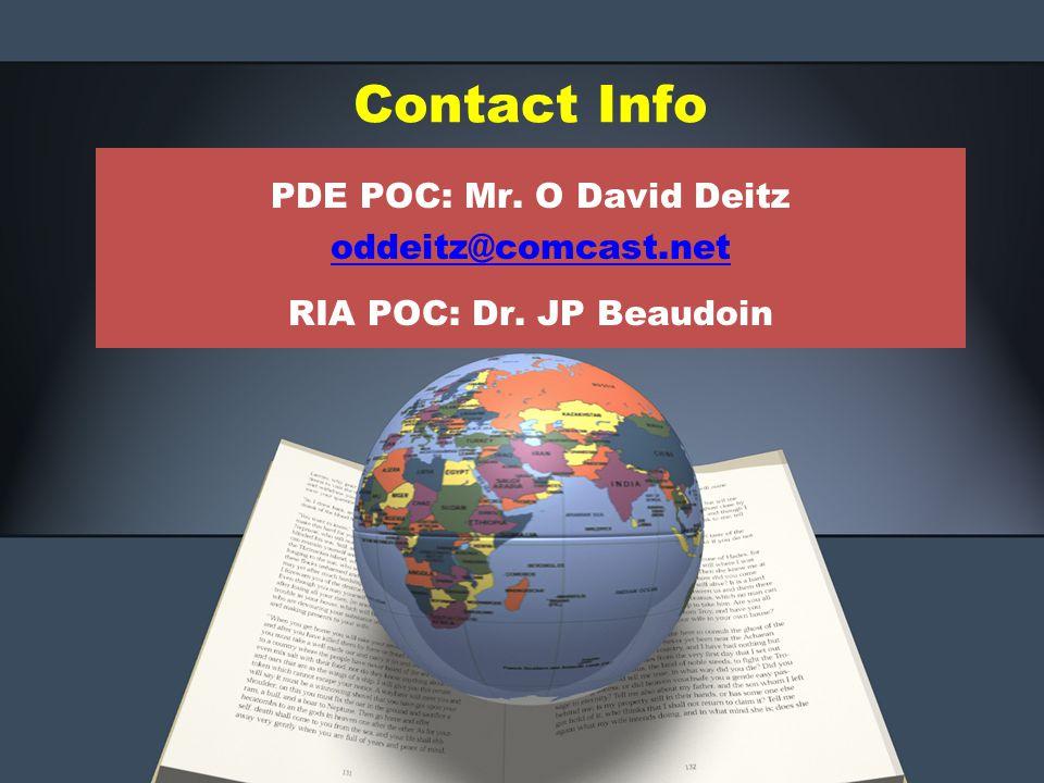 PDE POC: Mr. O David Deitz