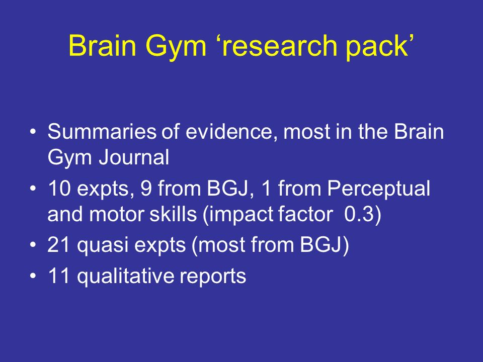 Brain Gym 'research pack'