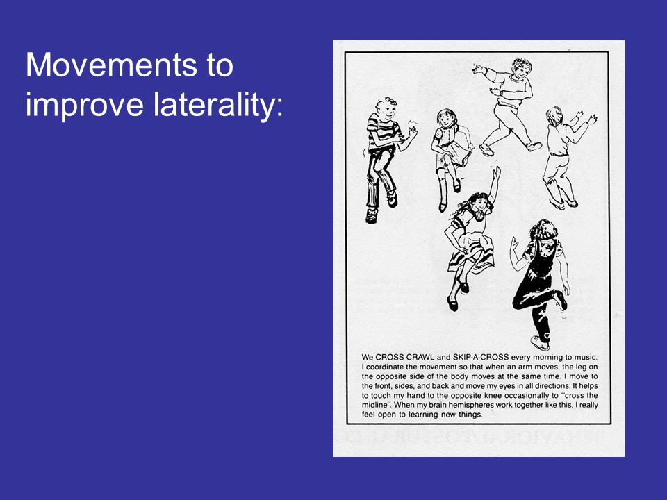Movements to improve laterality:
