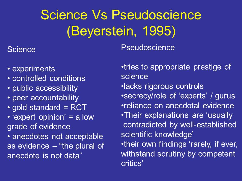 Science Vs Pseudoscience (Beyerstein, 1995)