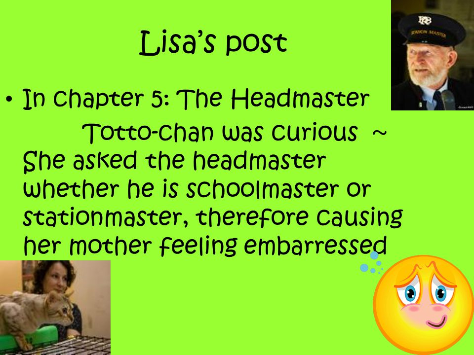 Lisa's post In chapter 5: The Headmaster