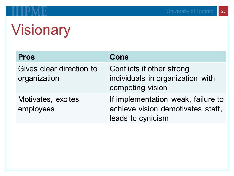 Visionary Pros Cons Gives clear direction to organization