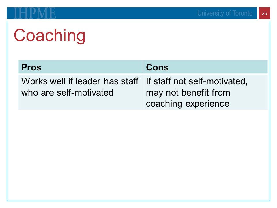 Coaching Pros. Cons. Works well if leader has staff who are self-motivated.
