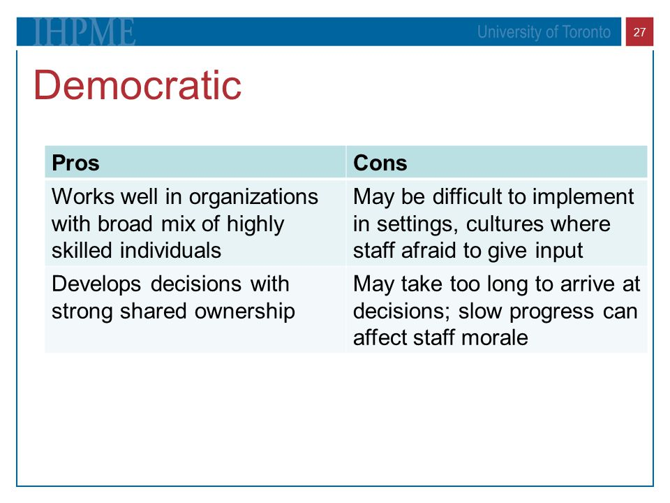 Democratic Pros. Cons. Works well in organizations with broad mix of highly skilled individuals.