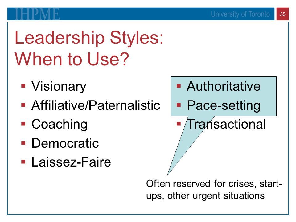 Leadership Styles: When to Use