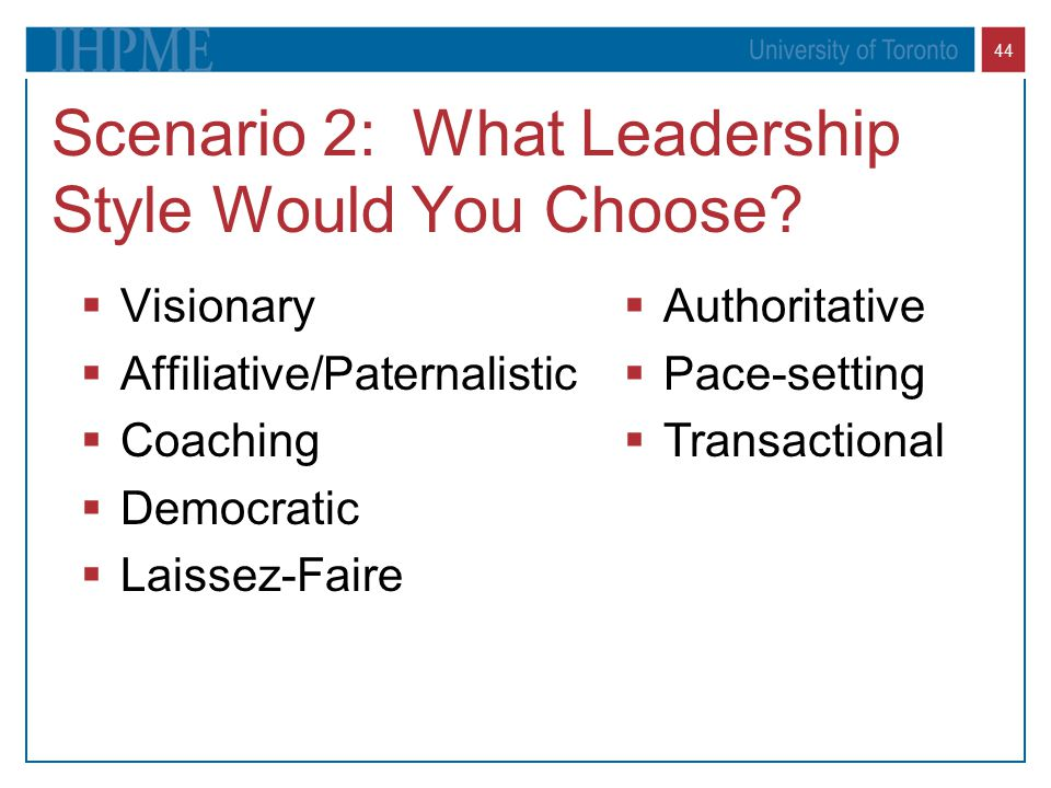 Scenario 2: What Leadership Style Would You Choose