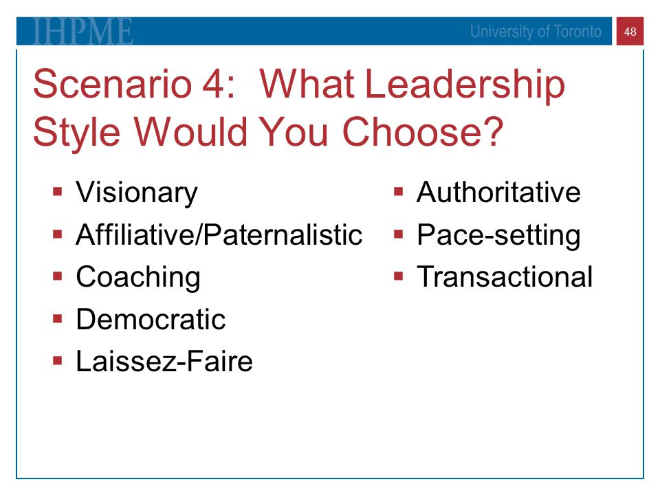 Scenario 4: What Leadership Style Would You Choose