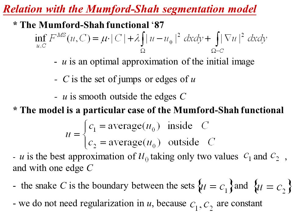 Relation with the Mumford-Shah segmentation model