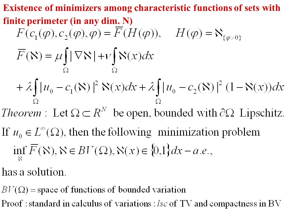 Existence of minimizers among characteristic functions of sets with finite perimeter (in any dim. N)