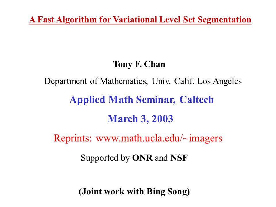 Applied Math Seminar, Caltech