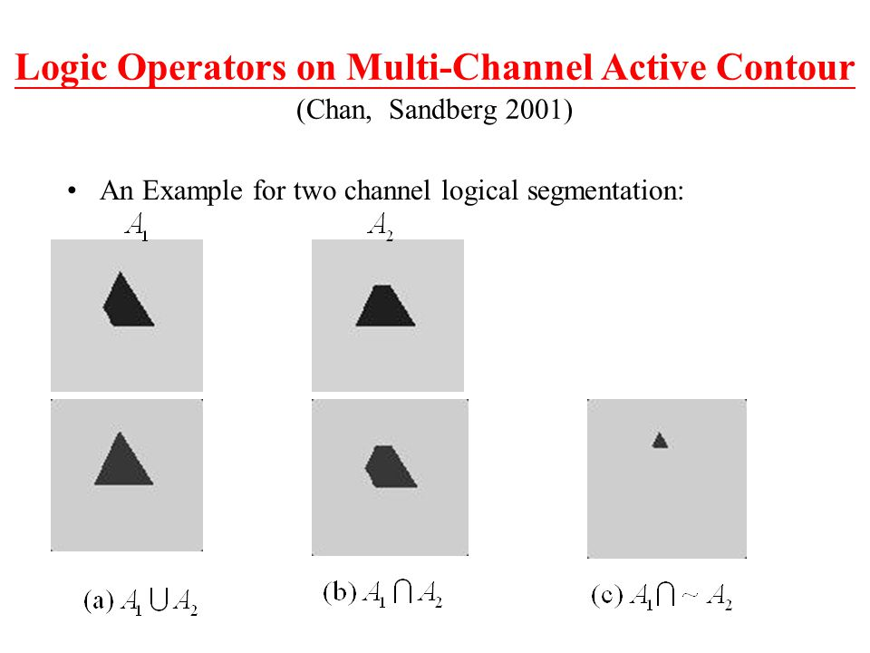 Logic Operators on Multi-Channel Active Contour (Chan, Sandberg 2001)