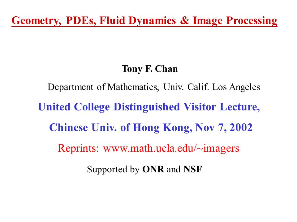 Geometry, PDEs, Fluid Dynamics & Image Processing