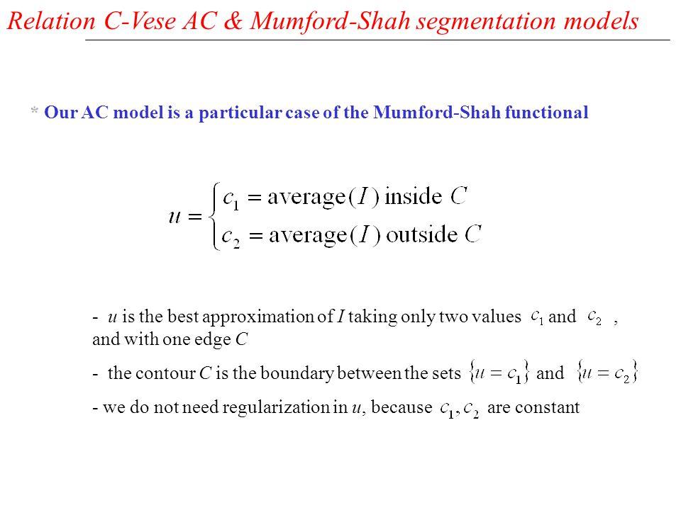 Relation C-Vese AC & Mumford-Shah segmentation models