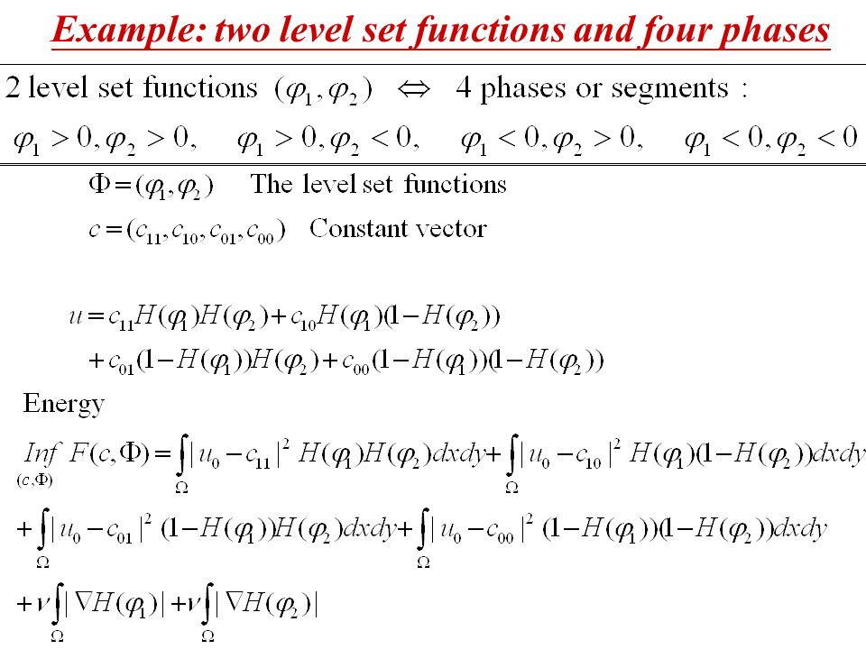 Example: two level set functions and four phases
