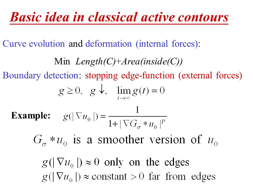 Basic idea in classical active contours