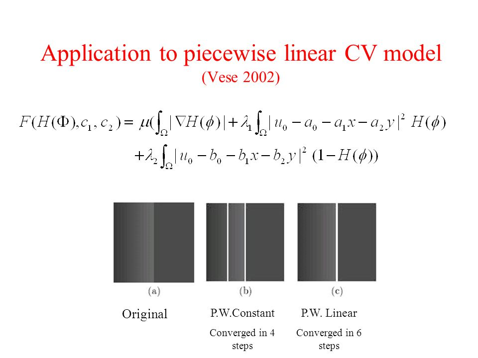 Application to piecewise linear CV model (Vese 2002)