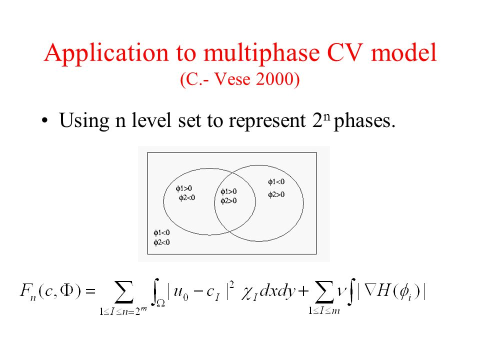 Application to multiphase CV model (C.- Vese 2000)
