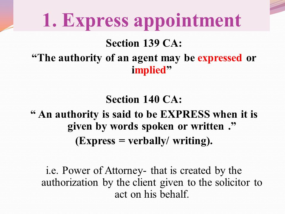 1. Express appointment