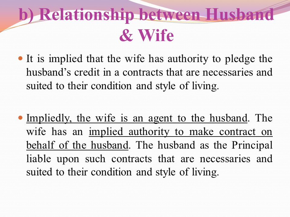 b) Relationship between Husband & Wife