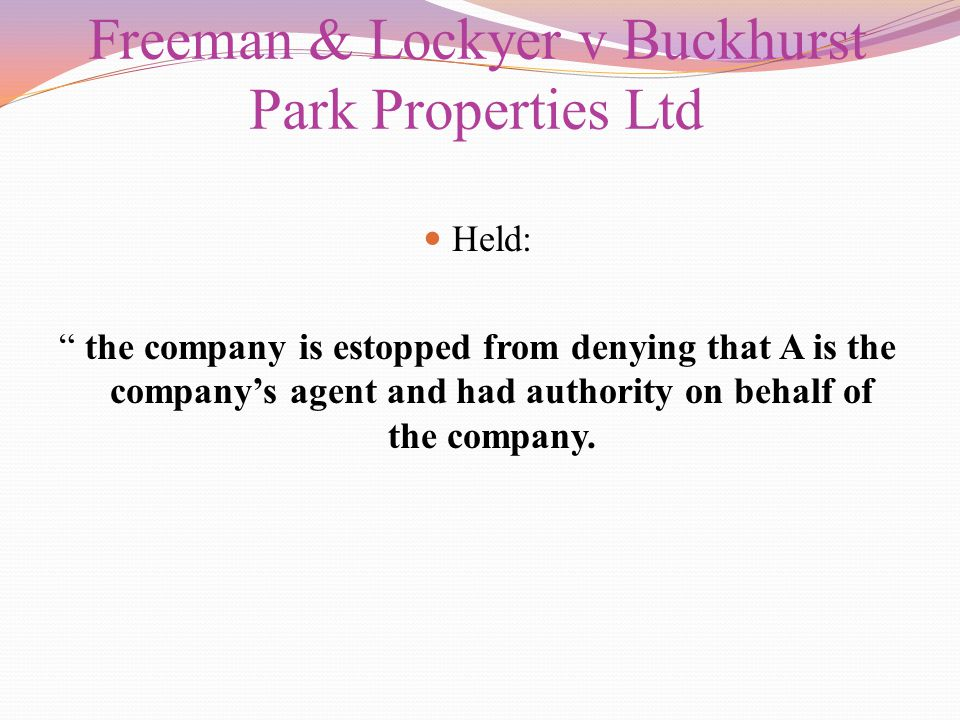 Freeman & Lockyer v Buckhurst Park Properties Ltd