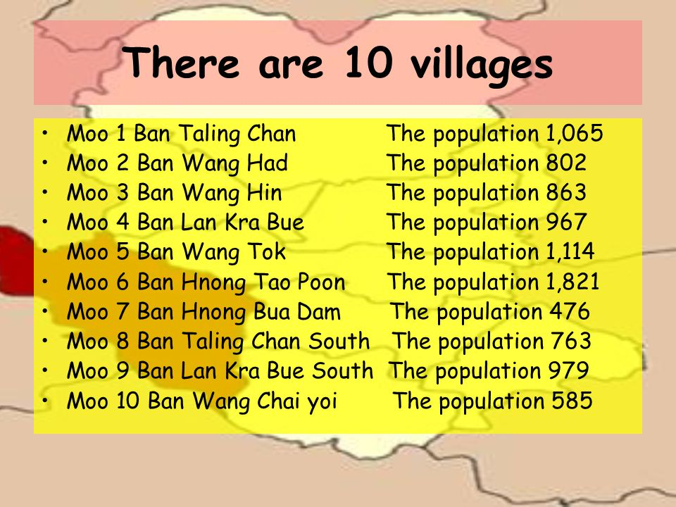 There are 10 villages Moo 1 Ban Taling Chan The population 1,065