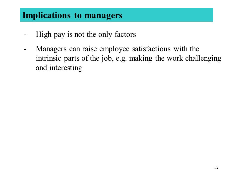 Implications to managers