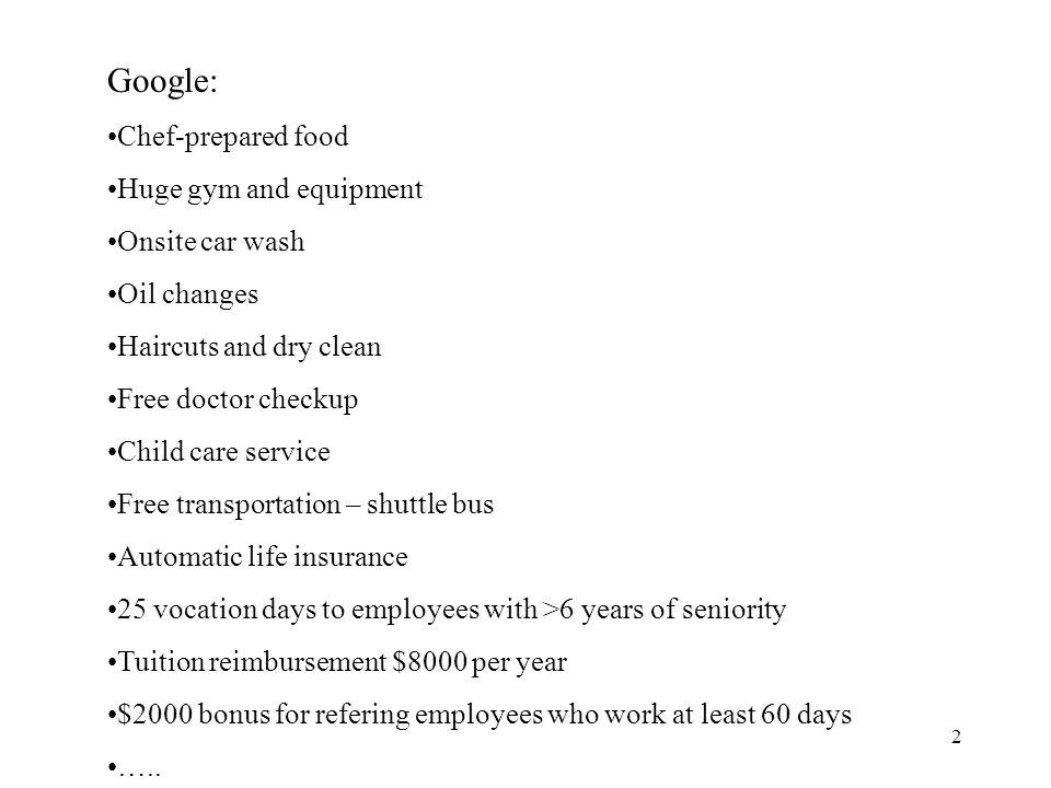 Google: Chef-prepared food Huge gym and equipment Onsite car wash