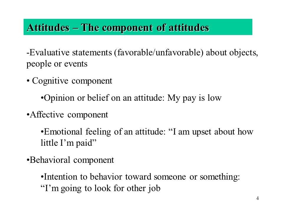 Attitudes – The component of attitudes