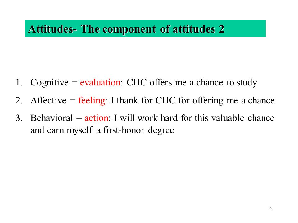 Attitudes- The component of attitudes 2