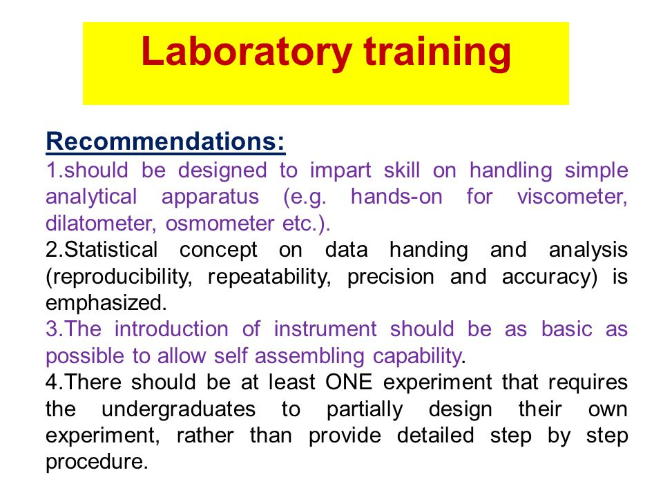 Laboratory training Recommendations: