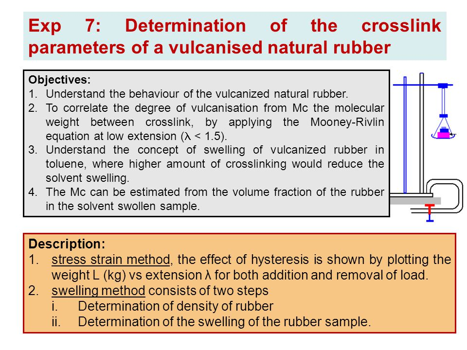 Exp 7: Determination of the crosslink parameters of a vulcanised natural rubber