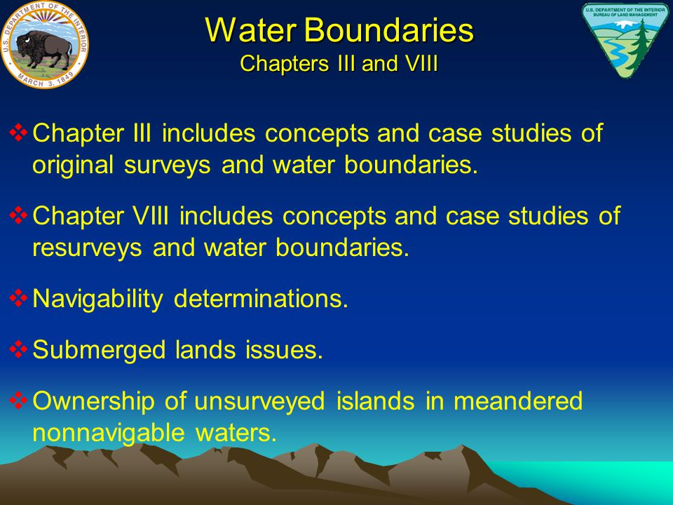 Water Boundaries Chapters III and VIII