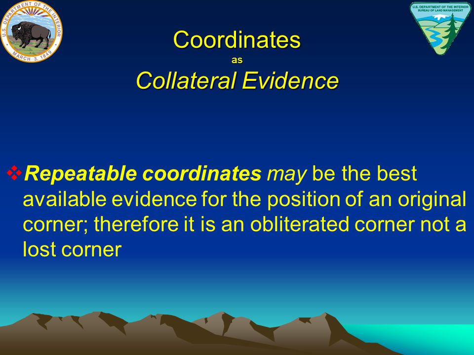 Coordinates as Collateral Evidence