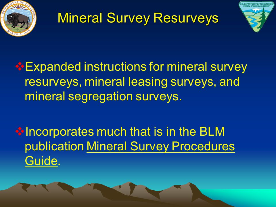 Mineral Survey Resurveys