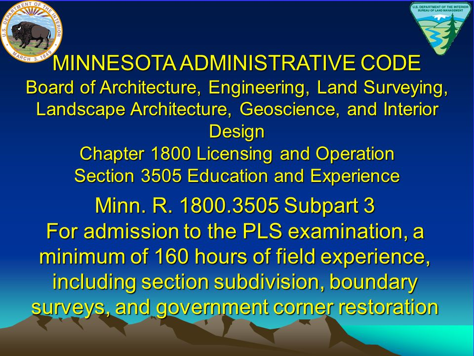 Section 3505 Education and Experience