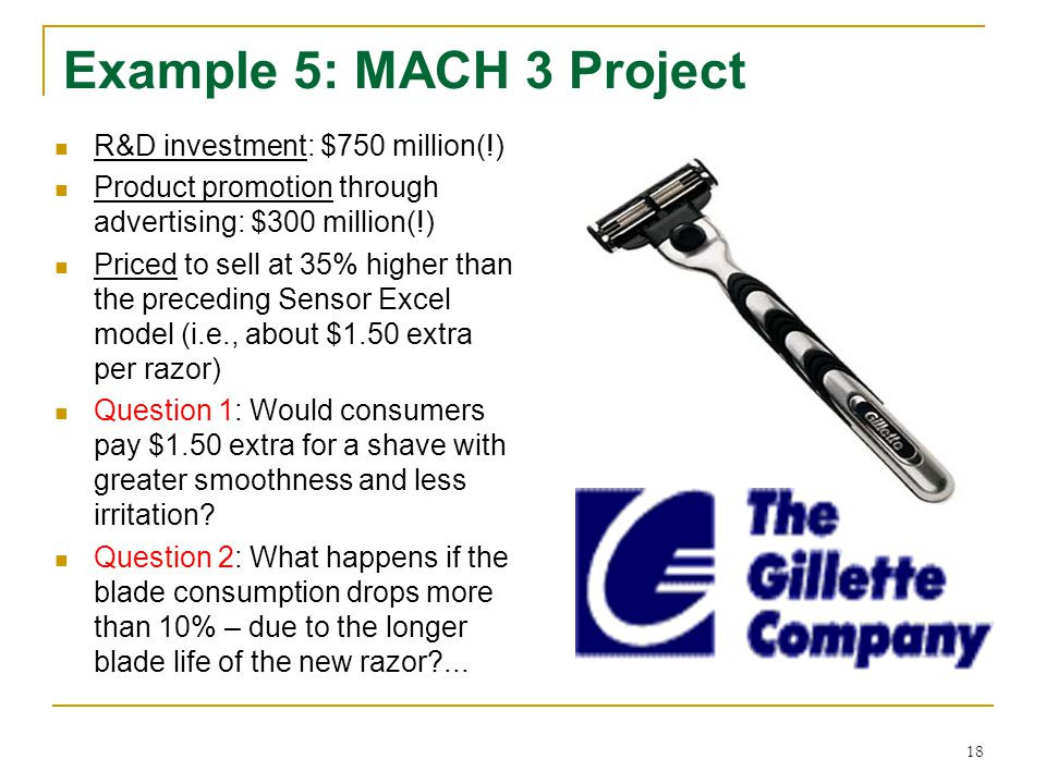 Example 5: MACH 3 Project R&D investment: $750 million(!)